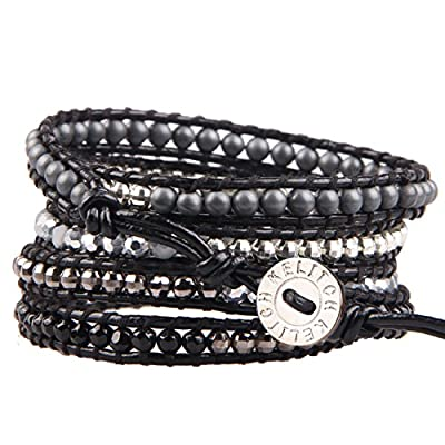 KELITCH Black Onyx and Silver-Plated Hematite Bead 5 Wrap Bracelet on Black Leather for sale
