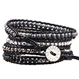 KELITCH Beads Wrap Bracelet Hand Braided Onyx Mix Hematite Beads on Black Leather Cuff Adjustable Jewelry