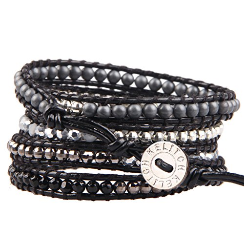 KELITCH Beads Wrap Bracelet Hand Braided Onyx Mix Hematite Beads on Black Leather Cuff Adjustable ()