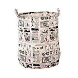 FakeFace Cotton Linen Large Folding Laundry Storage Basket Hampers for Dirty Clothes Kids Storage Bucket Boxes Bins Organizer Tote Bag for Baby Accessories Toys with Handles