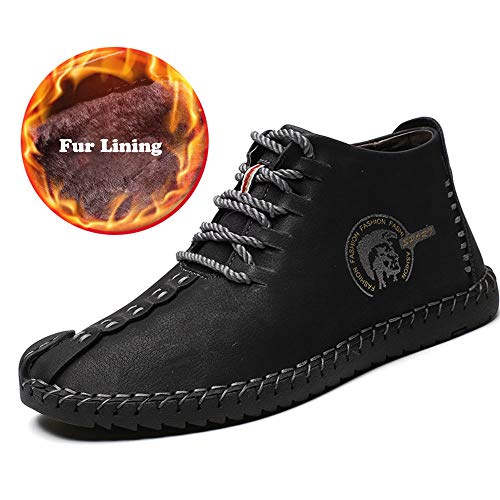 Leather Boots Handmade (UPIShi Mens Suede Fur Lining Winter Lace-up Ankle Handmade Flats Driving Oxford Leather High Top Shoes Black 47)