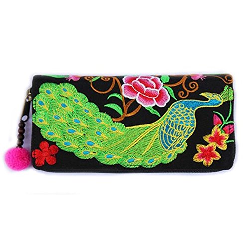 Embroidery Hill Tribal Peacock HandbagsWomen Thai Traditional Pattern Pink lady Original By Homesures