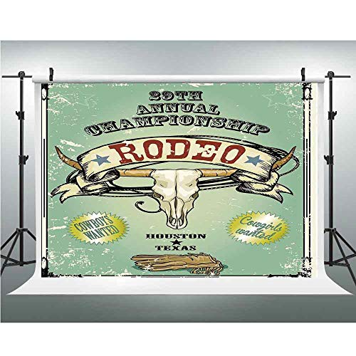 Western,Photography Backdrop Silk Photography Backdrops Studio Props,10x20ft,Retro Style Rodeo Championship Poster Bull Skull Large Horns with Banner Grungy Decorative ()