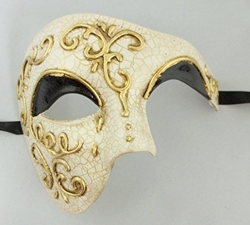 Black Lining Venetian Half Face Mask Masquerade with Phantom