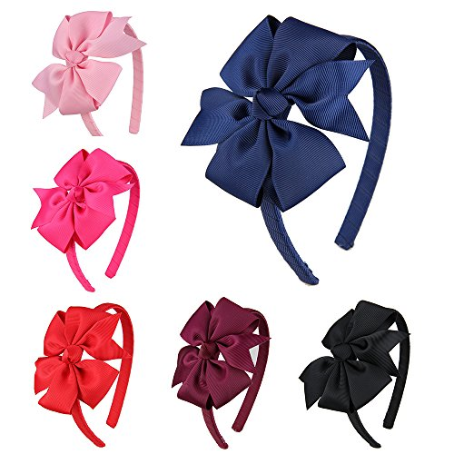 7Rainbows Girls Boutique Grosgrain Ribbon Headband with Bows(FS010-1)