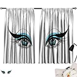 Blackout Draperies For Bedroom Eye,Expressive Look of a Woman without Eyebrows Artistic Blue and Black Make Up,Pale Blue Black White 63'x72',Home Garden Bedroom Outdoor Indoor Wall Decorations