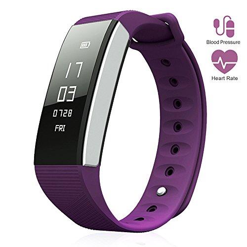 Digital Titanium Bracelet - LePan Smart Watch Blood Pressure Heart Rate Fitness Wristband Bluetooth 4.0 Touchscreen Premium Soft Silicone Wireless Auto Sleep Monitor Sport Pedometer Tracker for Android IOS Phones Purple