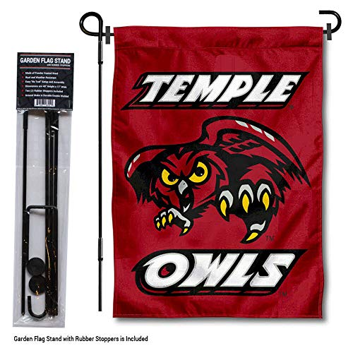College Flags and Banners Co. Temple Owls Garden Flag with Pole Stand Holder