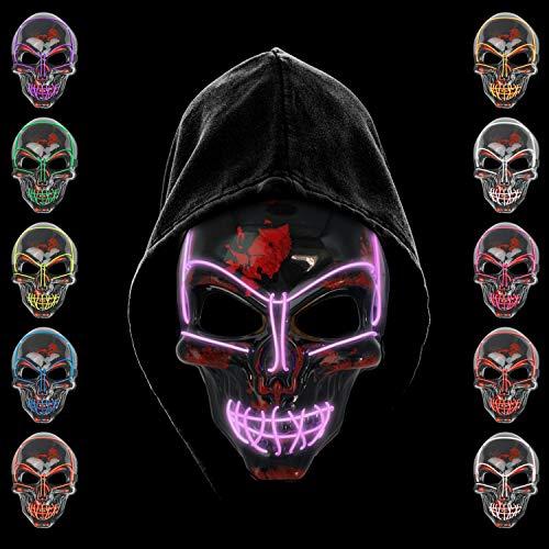 KiraKira Mascara LED Halloween, Halloween LED Mascaras Adultos LED Mask para la Fiesta de Disfraces, Mascara Disfraz Luminosa Craneo Esqueleto (red01)
