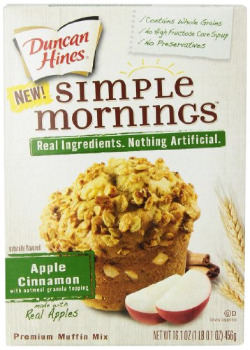 Duncan Hines Simple Mornings Oatmeal Muffin Mix, Apple Cinnamon, 16.1-Ounce (Pack of 12)