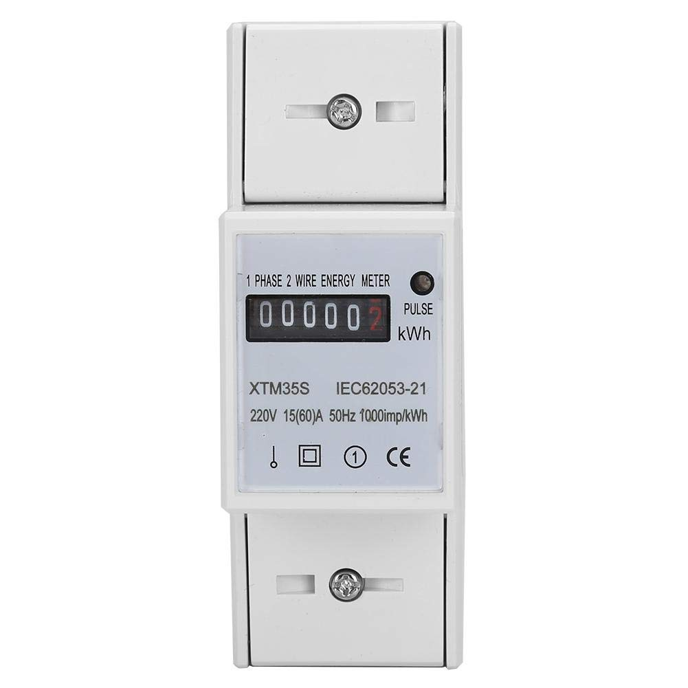 A Medidor el/éctrico digital de riel DIN 2P Medidor de KWh electr/ónico 220V 15 60