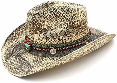 HXGAZXJQ Women Men Straw Western Cowboy Hat Summer Handmade Weave Lady  Sombrero Hombre Cowgirl Caps Bohemian 7e7f31a074b9
