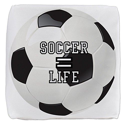 18 Inch 6-Sided Cube Ottoman Soccer Football Futbol Equals Life by Royal Lion
