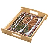 Please Come Home For Christmas Poodles Sitting In Window Wood Serving Tray with Handles Natural