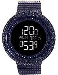 KING MASTER 65.00ct Lab Made Diamond Watch Aqua Master Fully Iced Out Mens Digital Watch Black Stainless Steel...