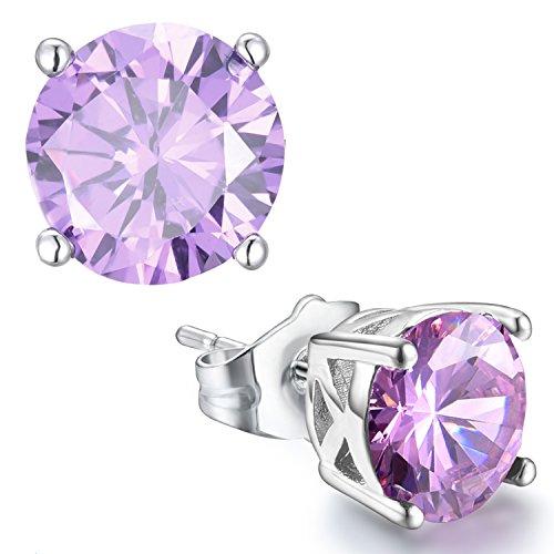 Casfine Hypoallergenic Silver Ear Stubs Birthstone Round Cubic Zirconia Diamond Earrings October Gift