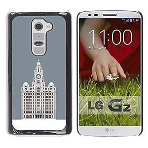 MobileHut / LG G2 D800 D802 D802TA D803 VS980 LS980 / Hotel Budapest Grey Minimalist Building / Delgado Negro Plástico caso cubierta Shell Armor Funda Case Cover