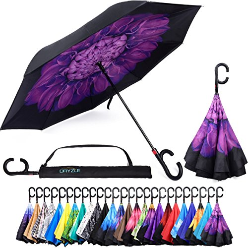 Reverse Inverted Inside Out Umbrella - Upside Down UV Sun Protection Windproof Brella That Open Better Than Most Umbrellas, Reversible Folding Double Layer, Suitable for Golf, Car, Women and Men - Heavy Duty Double Strollers