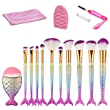 Mermaid Makeup Brushes Set, Beauty Star 11pcs Mermaid Makeup Brush Set Chubby Fish Soft Nylon Bristles Beauty Brushes Kit Foundation Blending Blush Concealer Cosmetic Tools w/Washing Board&Lash Brush