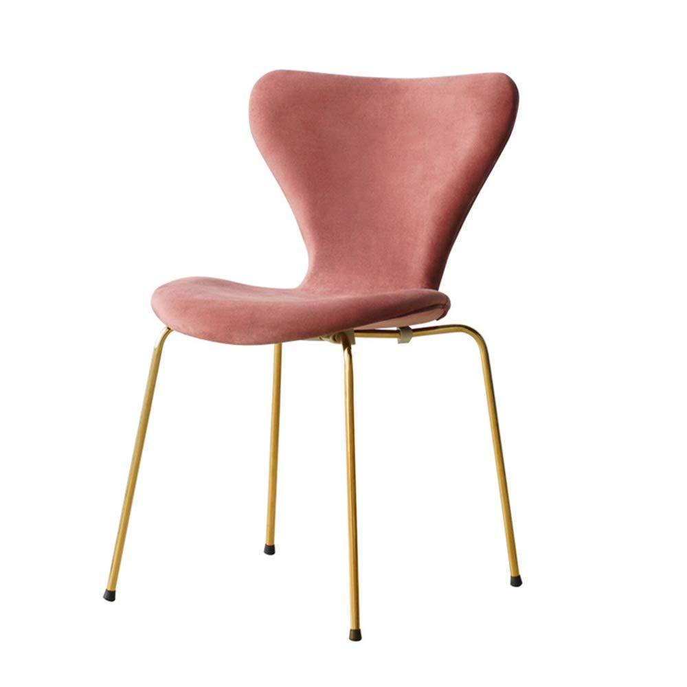Chyuanhua Dressing Hocker Wohnzimmer Esszimmer Küche Schlafzimmer Modern Vergoldeter Stuhl Gepolsterte Sitz Eitelkeit Stuhl Bein Make-up-Stuhl (Farbe : Rosa, Größe : 50.5x49x81cm)