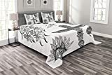 Lunarable Tribal Bedspread Set King Size, Tribal Doodle Set with Mask of Wild Animal Dream Catcher and Totem Vintage Print, Decorative Quilted 3 Piece Coverlet Set with 2 Pillow Shams, Black White