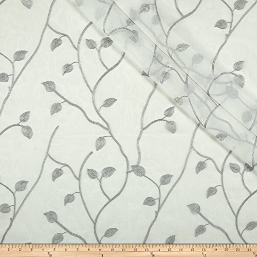 Eroica 0589088 Jana Embroidered Sheer Silver Fabric by The Yard