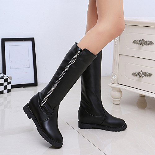Stivali Da Donna, Hatop Donna Inverno Caldo Stivali Alti Coscia Sopra Il Ginocchio Stivali Scarpe Tacco Piatto Aumentato Nero