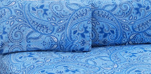 Cotton Egyptian Cotton Print (Paisley Collection 500 Thread Count 100% Combed Cotton Printed Sheet Set - Highest Quality Durable Percale Sheets (Queen, Royal Blue))