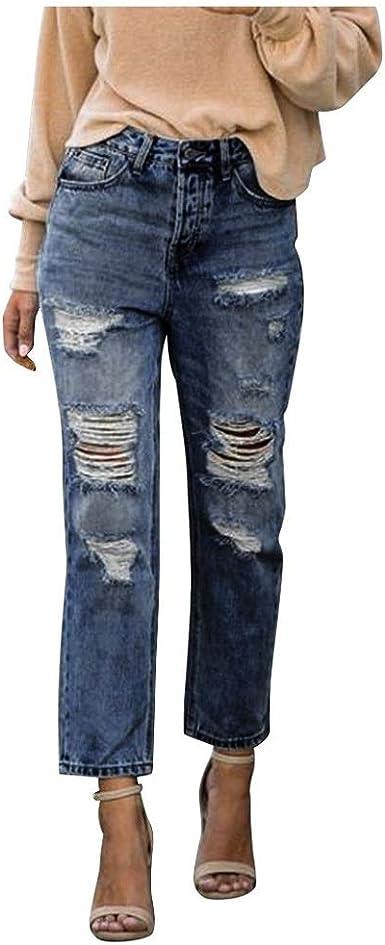 Zezkt Vaqueros Jeans De Cintura Media Para Mujer Moda Casual Pantalones De Mezclilla Rectos Con Botones Elasticos Pantalon Denim Largo Amazon Es Ropa Y Accesorios