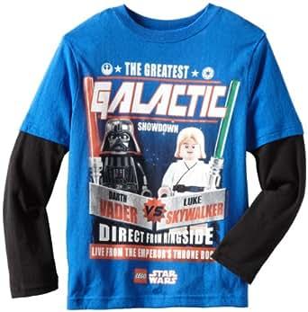 Star Wars Lego Big Boys' Galactic Crewneck Long Sleeve Doubler Shirt, Royal/Black, 8