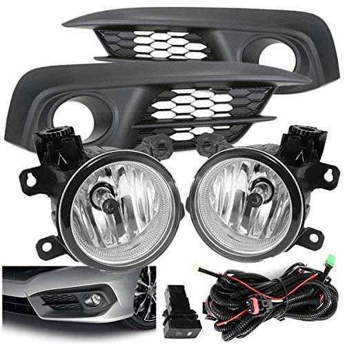 UFRAME Fits 2016 2017 2018 Honda Civic Halogen Fog light Kit w/Bezels /Wiring/Switch /Bulbs (NOT fit Si,Touring & SENS models)