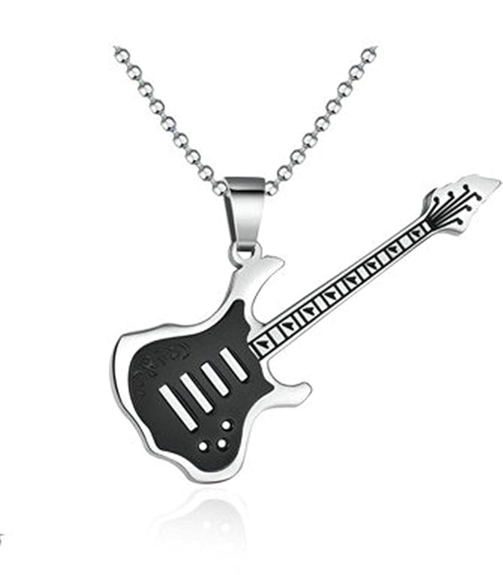 Onefeart Acero Inoxidable Collar por Hombres Significado Musical Exquisito Guitarra Eléctrica Colgante 57.5MM: Amazon.es: Joyería