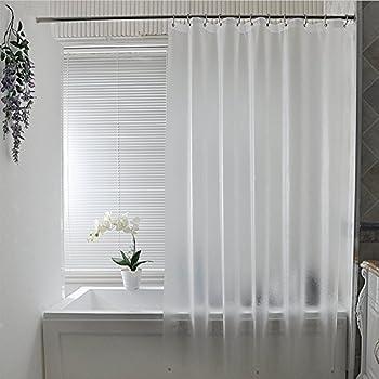 Eforcurtain Subtle Semi Transparent Shower Curtain 18 Gauge PEVA Bathtub Waterproof And No Odors