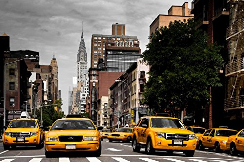 Taxis On Lexington Avenue New York City NYC Photo Art Print Mural Giant Poster 54x36 inch