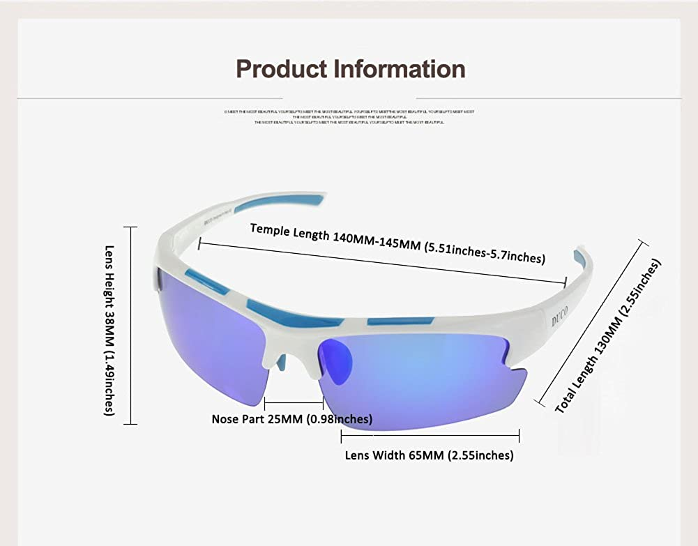 DUCO Polarized Sports Sunglasses for Baseball Cycling TR90 Superlight Frame 6200