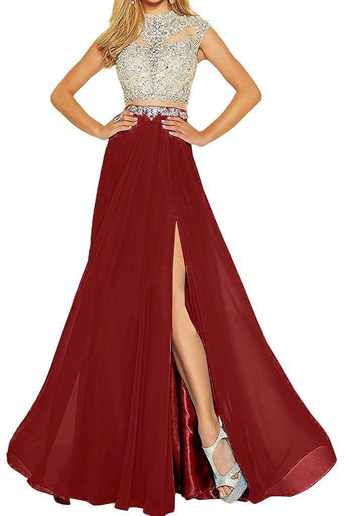 Burgundy MariRobe Women's Beading Evening Dress Split Illusion Prom Gown Sleveless Backless Dance Dress for Girls Pink