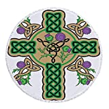 iPrint Thick Round Beach Towel Blanket,Celtic,Celtic Knot Design Christian Cross Icon Wreath Flowers Retro Floral Welsh Pattern,Mustard Green,Multi-Purpose Beach Throw