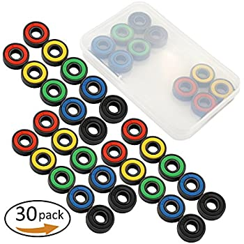 30 Pieces 608 RS 608RS Roller Skates Ceramic Ball Inline Skate Bearings,5 colors