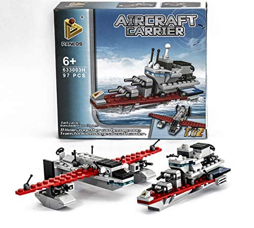 Airplane Building Block - 97 PCS Military Brick Blocks Building Toy Airplane and Boat,for Boys 6-12 Years DIY Construction Brick Set