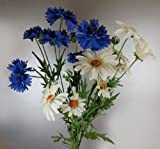 Bunch of Artificial Silk Daisies and Cornflowers