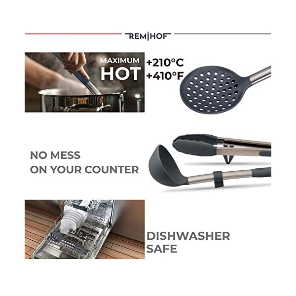 REMIHOF Silicone Kitchen Utensil Set - Nonstick Silicone and Stainless Steel Cooking Utensils - Spatula Turner Ladle… 5