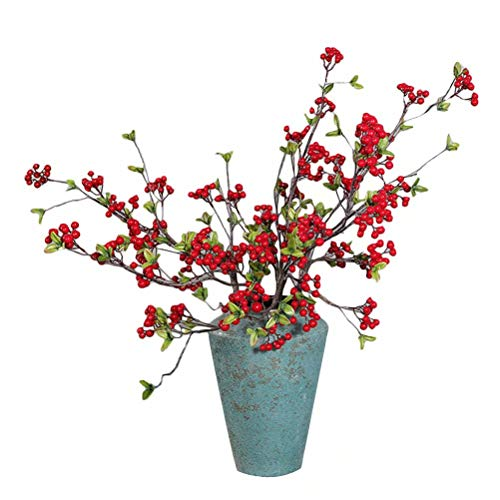 5pcs Artificial Shrubs Berry Branches Fake Simulation Xmas Red Berry Holly Decorative Fruit Plants Holiday Decorating Christmas Flower -