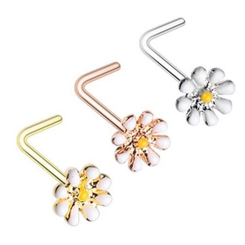 3-Pack Set Dainty Daisy Flower Steel Nose Rings 20G Bone or L-Shaped