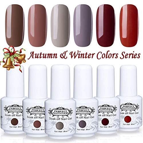 Perfect Summer Coffee Color Gel Nail Polish Set - 6PCS Trend Autumn Winter Colors Varnish Soak Off UV LED Manicure Deep Series Nail Art Christmas Gift Set 8ML #08
