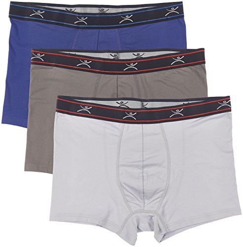 Terramar Mens Silkskins 3 Trunk Briefs with Pouch (Pack of 3),Lt.grey/Dl.grey/Navy,Large