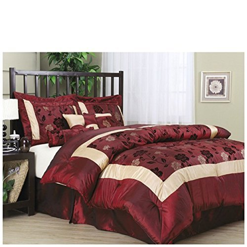 Angela 7-Piece Comforter Set, Burgundy Size: King