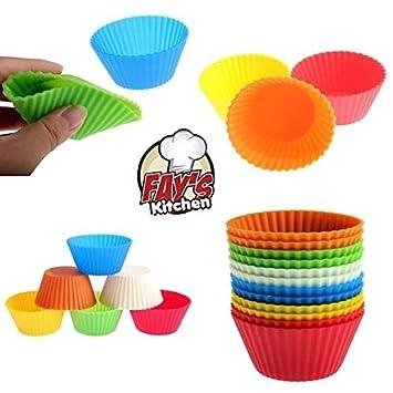 De silicona para cupcakes – Juego de 12 – Moldes para magdalenas y reutilizable antiadherente Cake