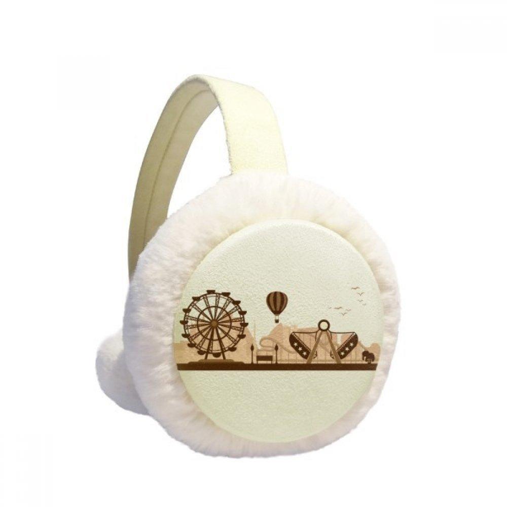 Amusement Park Black Facilities Silhouette Winter Earmuffs Ear Warmers Faux Fur Foldable Plush Outdoor Gift