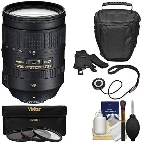 Nikon 28-300mm f/3.5-5.6 G VR AF-S ED Zoom-Nikkor Lens + Holster + 3 Filters Kit for D3200, D3300, D5300, D5500, D7100, D7200, D750, D810 Cameras