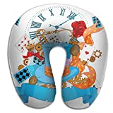 Ministoeb Creative U Shaped Neck Pillow Art Poker Hat Design Comfortable Soft Neck Support Pattern Pillow For Rest,Travel,Car,Airplane,Bed,Sofa